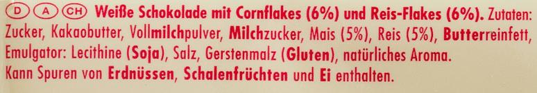 Ritter Sport Weiß + Crisp - Ingrediënten
