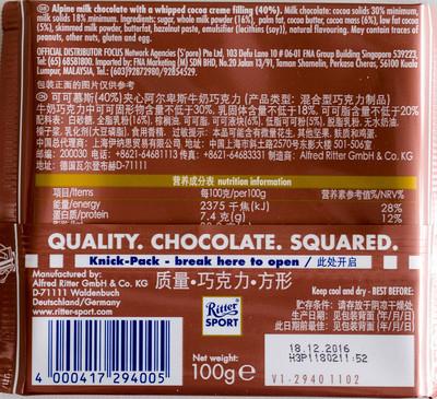 Chocolat au lait des Alpes fourré d'une mousse au cacao - 8