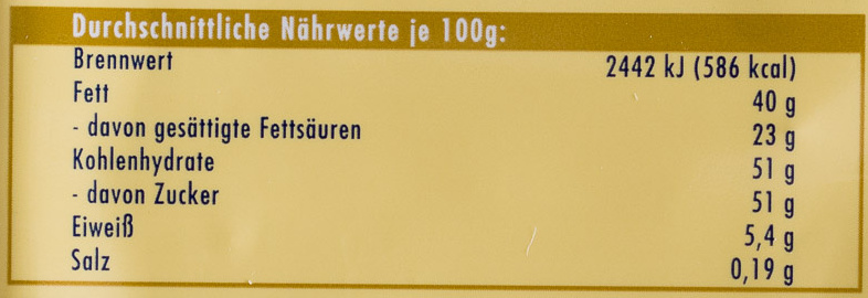 Ritter Sport Vanille-Mousse - Nutrition facts