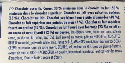 Sélection de chocolats - Ingrédients - fr