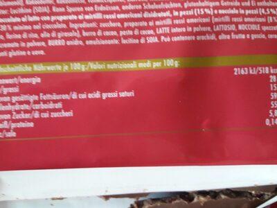 Cranberry noisette - Nutrition facts - de