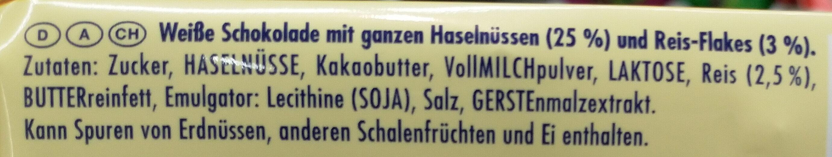 Weisse Voll-Nuss - Ingrediënten - de