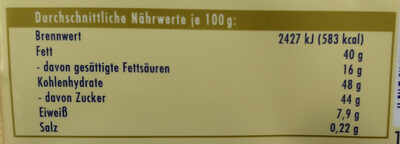 Weisse Voll-Nuss - Nährwertangaben - de