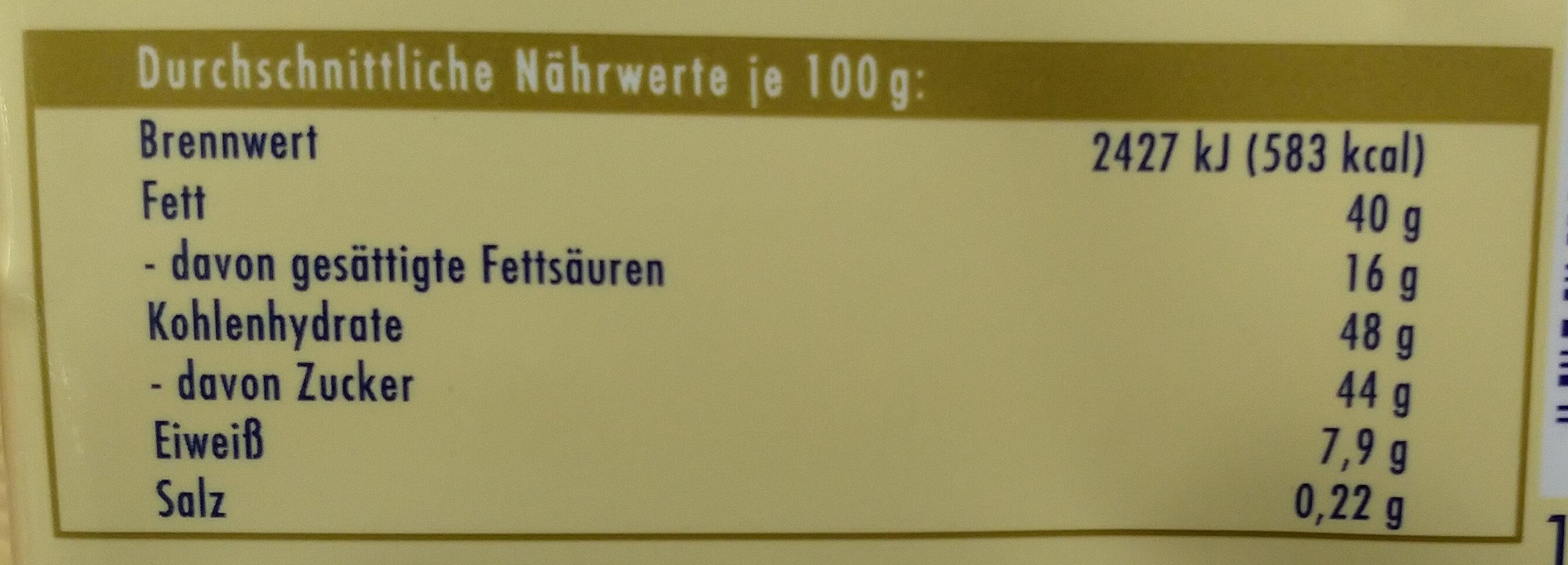 Weisse Voll-Nuss - Voedingswaarden - de