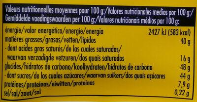 Blanc Noisettes Entières - Nutrition facts - fr