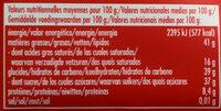 Noir Noisettes Entières - Informations nutritionnelles - fr