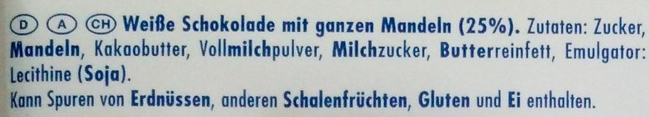 Ritter Sport Weiße Mandel - Zutaten