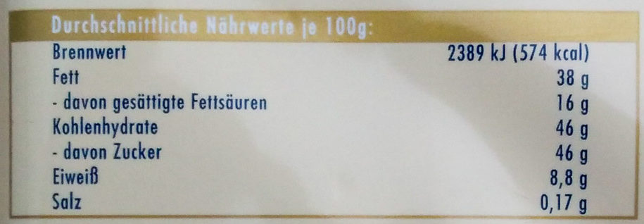 Ritter Sport Weisse Mandel - Nährwertangaben