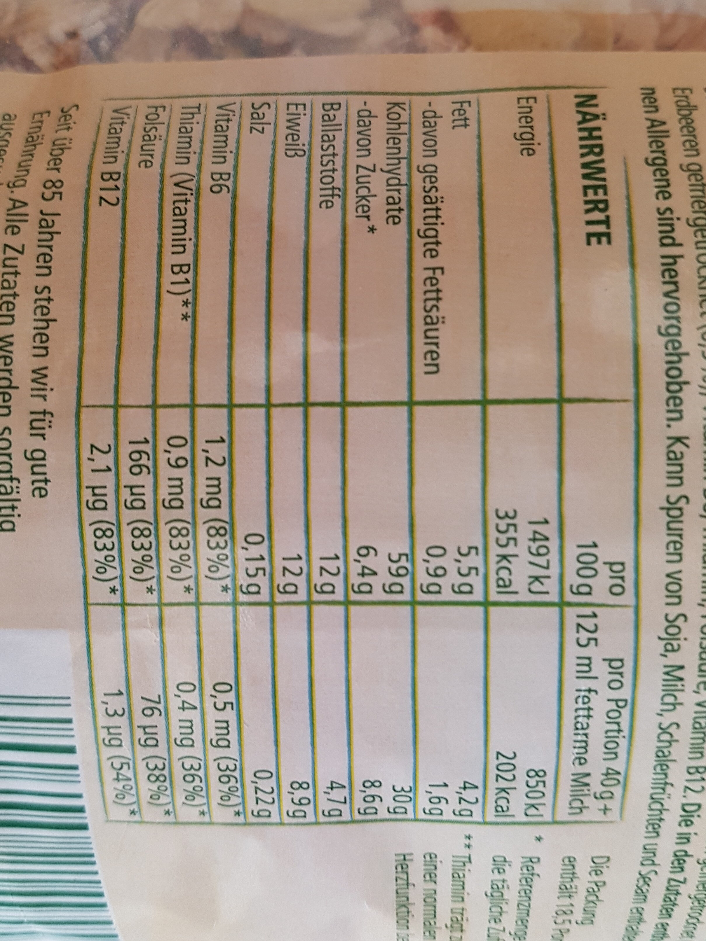 Herzensangelegenheiten - Nutrition facts - de