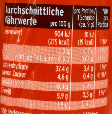Vollkornbrot - Informations nutritionnelles - de