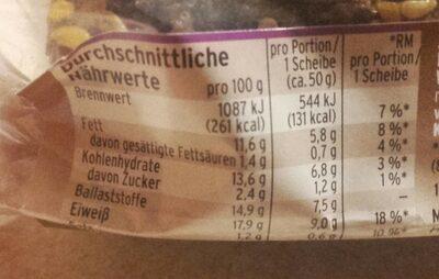 Eiweißbrot - Mestemacher - 250G - Valori nutrizionali - de