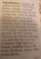 Fruit Muesli - Ingredients - es