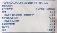 Spätzle Mehl Type 405 - Nutrition facts