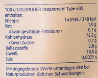 Instant Mehl Type 405 - Nutrition facts