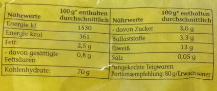 Gabelspaghetti - Informations nutritionnelles - de