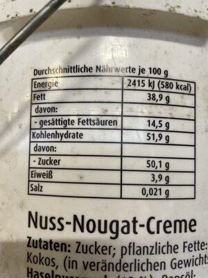 Nusetta Nuss Nougat Creme - Valori nutrizionali - de