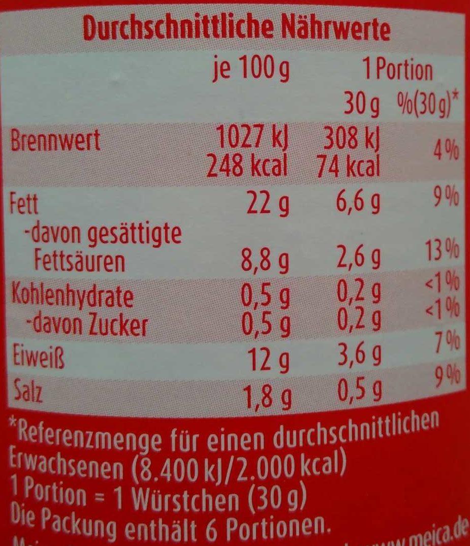 Saft-Bockwurst - Nährwertangaben