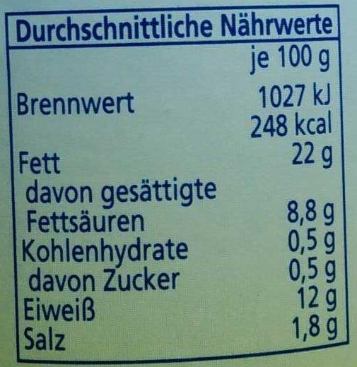 Land Bockwurst - Informations nutritionnelles