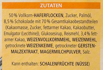 Vitalis Knusper Müsli Schoko feinherb - Ingredients
