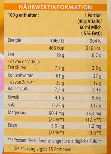 Vitalis Knusper Müsli Schoko feinherb - Voedingswaarden - de
