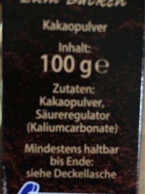 Kakao zum Backen - Ingredienti - de