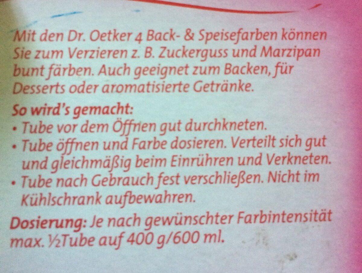 4 Back- & Speisefarben - Ingrédients - fr