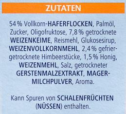 Vitalis Weniger süß Knusper Himbeere - Ingredients
