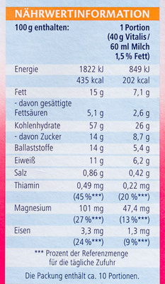 Vitalis Weniger süß Knusper Himbeere - Nutrition facts