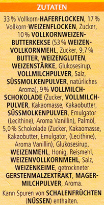 Vitalis Knusper Schoko+Keks - Ingredients