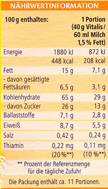 Vitalis Knusper Schoko+Keks - Nutrition facts
