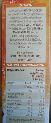Vitalis Roasted Müsli Cranberry-kürbiskern - Ingredients