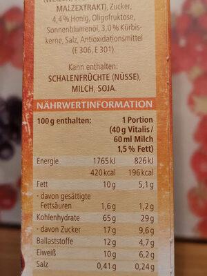 Vitalis Roasted Müsli Cranberry-kürbiskern - Nutrition facts