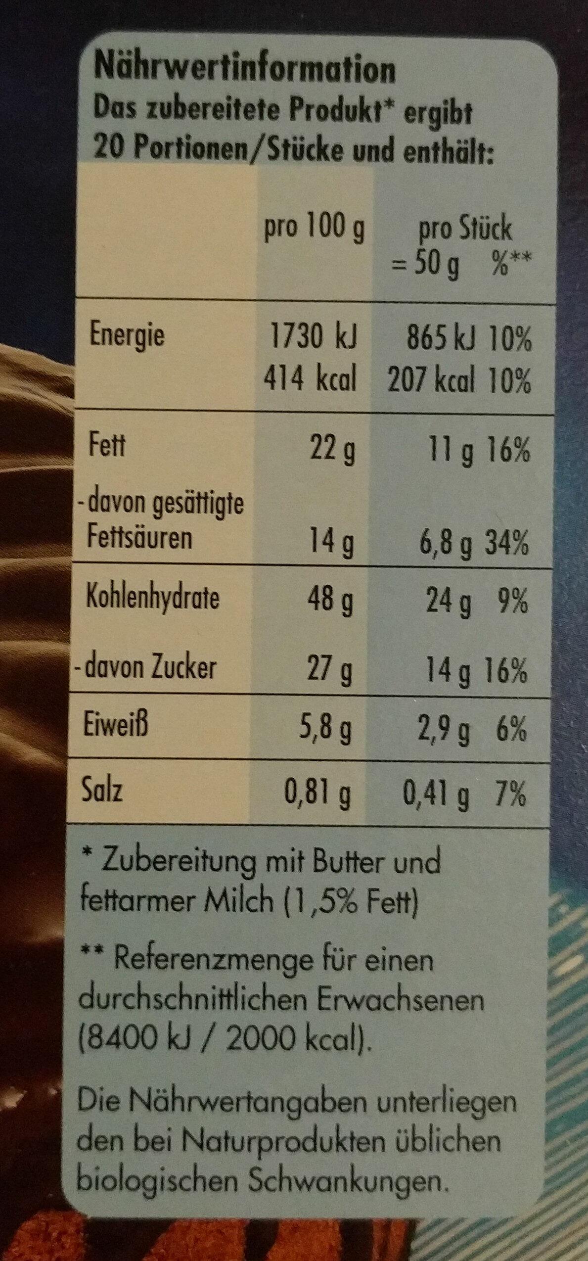 Schoko Gewürzkranz - Voedingswaarden - de