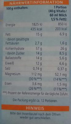 Knusper Schoko Weniger Süß - Nutrition facts