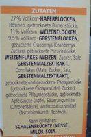 Vitalis Früchtemüsli - Zutaten - de