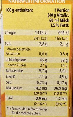 Vitalis Früchtemüsli - Nährwertangaben - de