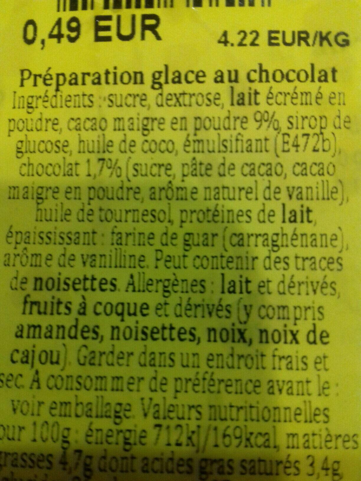Pulver Schokoladeneis - Ingredients - de