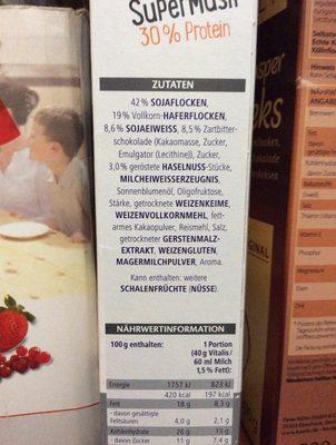 Vitamins Super Müsli 30% Protein - Ingrediënten - de