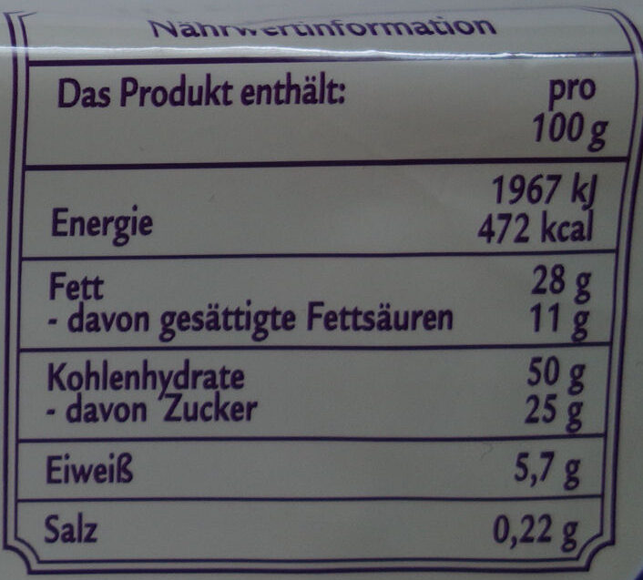 My Sweet Table Mini Gugelhupf Nuss - Voedingswaarden - de