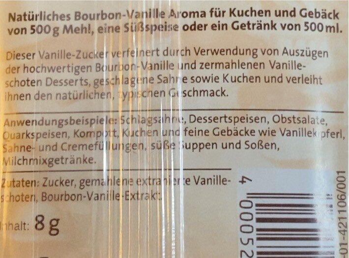 Dr. Oettker Bourbon Vanille Zucker - Voedingswaarden - de