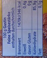 Speisestärke - Nährwertangaben - de