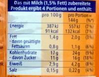 Original Pudding Sahne Geschmack - Nährwertangaben