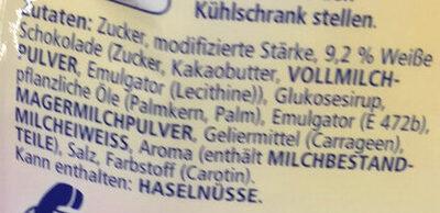 Paradiescreme weiße Schokolade - Ingrediënten - de