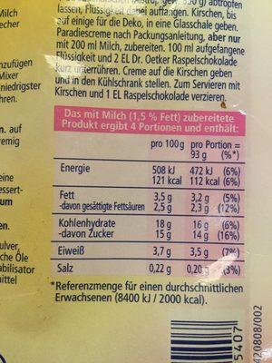Paradiescreme Schoko - Nutrition facts