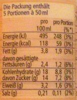 Bourbon-Vanille Soße - Informations nutritionnelles - fr