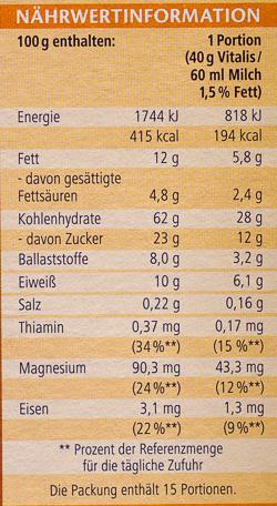 Vitalis Schoko Müsli klassisch - Informations nutritionnelles - de