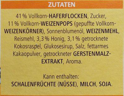 Vitalis Müsli, Knusper Honeys 0,6 KG Pro Packung - Ingrédients - fr
