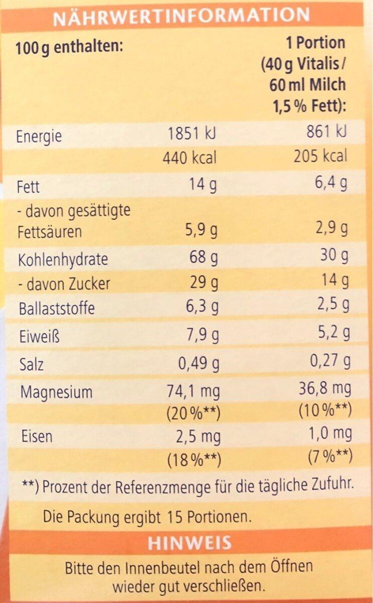 Vitalis Müsli, Knusper Honeys 0,6 KG Pro Packung - Informations nutritionnelles - fr