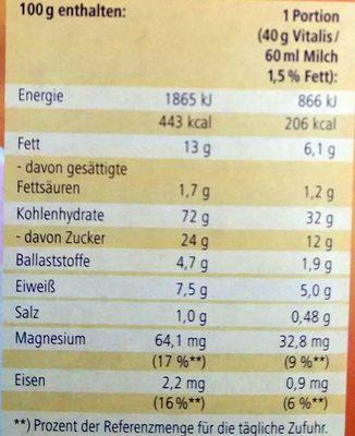 Vitalis Knusper Müsli Flakes + Mandeln - Voedingswaarden - de