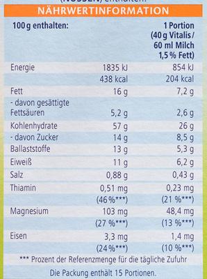 Vitalis Weniger süß Knusper Pur - Informations nutritionnelles - de